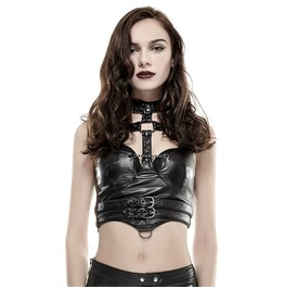 Punk Halterneck Mental Ring Cross Buckle Up Faux Leather Midriff Bustiers Y