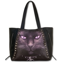 Spiral Hand Tote Bag Black Cat Studded Pentagram Occult