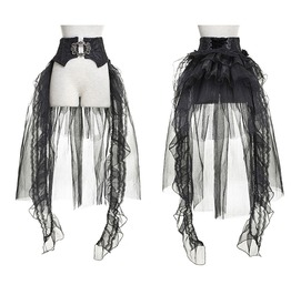 Punk Rave Gothic Sheer Removable Mesh Swallow Tail Skirt Q287