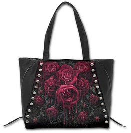 Spiral Hand Tote Bag Blood Rose Studded Gothic