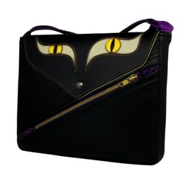 Black Cat Vegan Leather Shoulder Bag Hollow Kat Collection