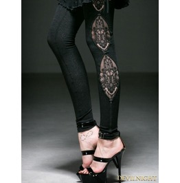 Black Gothic Fringe Jacquard Legging For Women K 194