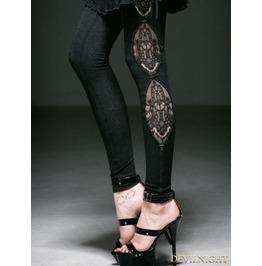 Black Gothic Fringe Jacquard Legging For Women K 194