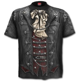Steampunk Gothic Victorian Style T Shirt With Skull And Bat Graphics