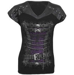 Corset Print Leather Look Skull Bat Gothic Rock Vampire T Shirt Top