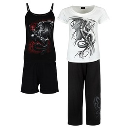 Wyern Dragon Graphic Gothic Rock Metal 4 Piece Pyjamas Pj Set