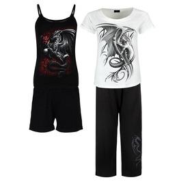 Wyern Dragon Graphic Gothic Rock Metal 4 Piece Pyjamas Pj Set