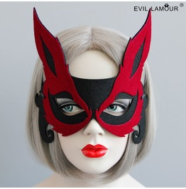 Handmade Black And Red Gothic Fox Mask Mk 34