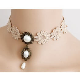 Handmade White Lace Pearl Pendent Gothic Necklace Jl 143