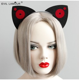 Handmade Black And Red Gothic Ear Hair Accessories Fg 72