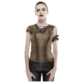 Punk Rave Women's Steampunk Crocheted Straps Backless T Shirt T433