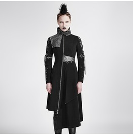 Punk Women's Asymmetric High Collar Lapel Back Lace Up Winter Overcoat Y689