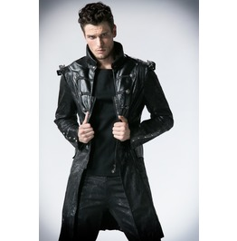 Men's Front Zipper Rivets Faux Leather Military Long Jacket Y366
