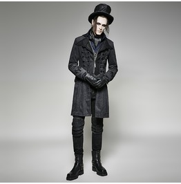 Punk Rave Men's Gothic Corduroy Twill Front Zipper Overcoat Y705
