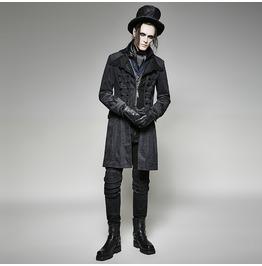 Punk Rave Men's Gothic Corduroy Twill Front Zipper Overcoat Y705