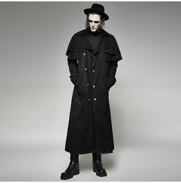 Gothic Men's Winter Black Double Breasted Faux Suede Cape Overcoat Y716