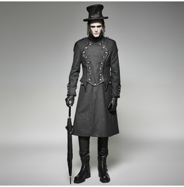 Gothic Men's Winter Double Breasted High Collar Military Overcoat Y704