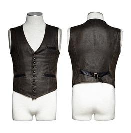 Punk Rave Men's Retro Bronze Single Breasted Faux Leather Vest Y718
