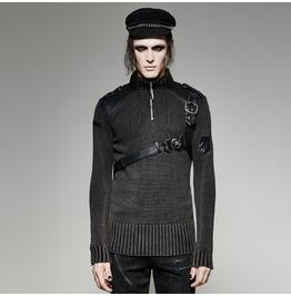 Punk Rave Men's Straps High Collar Sweater M035