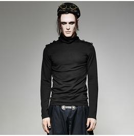 Punk Rave Men's High Collar Black Long Sleeved T Shirt With Shoulder Mark