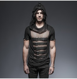 Punk Rave Men's Rock Buckle Up Sheer Hooded Mesh T Shirt T425