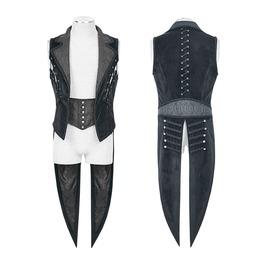 Punk Rave Gothic Men's Lapel Jacquard Tuxedo Coat Y648