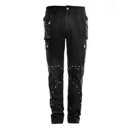Punk Rave Men's Black Rivets Cargo Pants K264