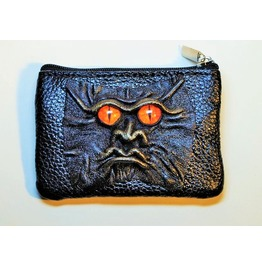 Dragon Eye Black Genuine Leather Men Zippered Wallet Small Mini Coin Purse