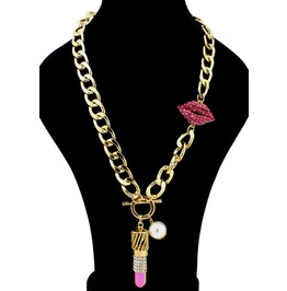 Blingy Lipstick And Lips Gold Chain Necklace Free Shipping