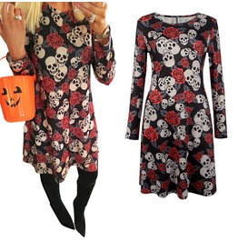 Christmas Gift Sugar Skull Print Dress