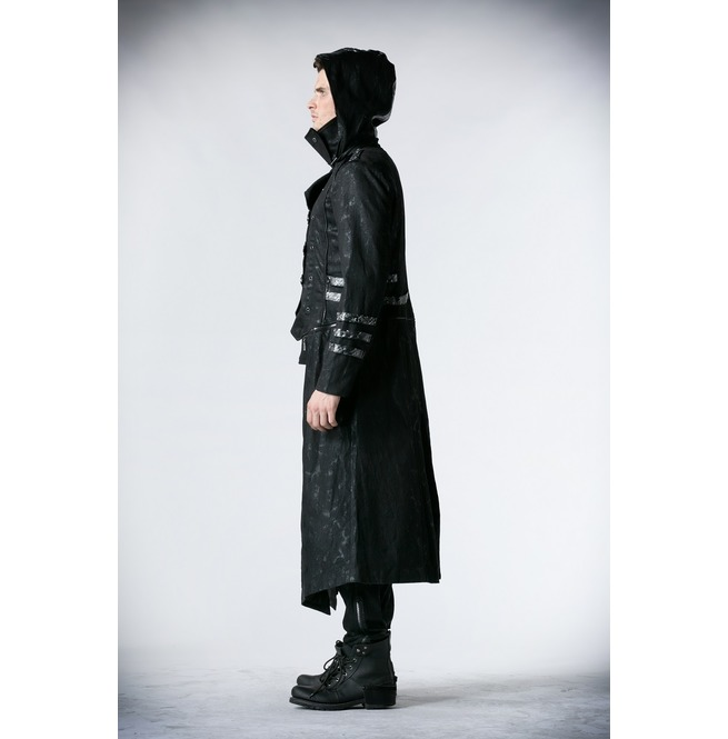 rebelsmarket_punk_rave_gothic_black_stretch_twill_fabric_chef_faux_leather_coat_b364_coats_3.jpg