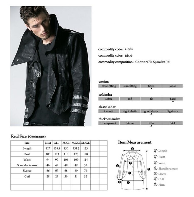 rebelsmarket_punk_rave_gothic_black_stretch_twill_fabric_chef_faux_leather_coat_b364_coats_2.jpg