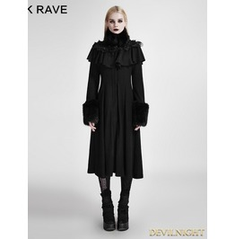 Black Long Shawl Decorated Gothic Lolita Coats Ly 059