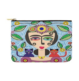 Frida Kahlo With Flowers And 2 Cats Canvas Clutch Bag