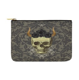 Skull With Horns With Black Roses Charcoal Damask Canvas Clutch Bag