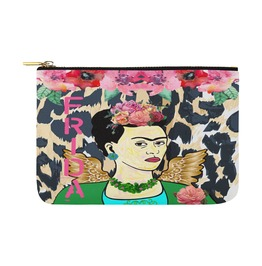 Funky Frida Kahlo With Wings And Leopard Print Canvas Clutch Bag