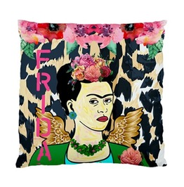 Frida Kahlo With Wings Leopard Print Background Cushion Cover