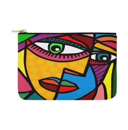 Funky Picasso Face Colourful Abstract Art Canvas Bag