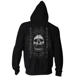 Men New Black Zip Up Sweatshirt Black Goth Occult Skull Hoody