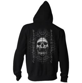 Men New Black Zip Up Sweatshirt Black Goth Occult Skull Hoody