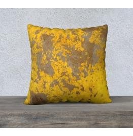 Industrial Design Throw Pillow | Yellow Metal Sofa Pillow | Cushion Cover