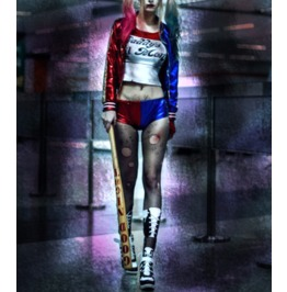 Harley Quinn Shorts . Metallic Bomber Jacket