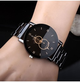 Mens Black Dial Stainless Steel Band Quartz Watch