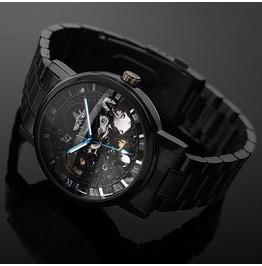 Mens Black Skeleton Analog Quartz Stainless Steel Watch