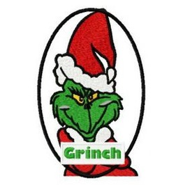 Embroidered Christmas Grinch Patch/Badge Iron/Sew On