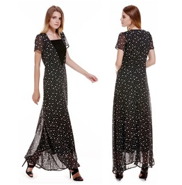 Women Chiffon Short Sleeve Top Long Maxi Dress Plunging Neck Star Dress