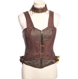Steampunk Industrial Alchemist Style Brown Corset Vest