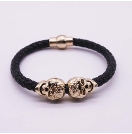 Black Leather Rope Cuff Bracelet Double Skull Jewelry