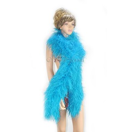 """Turquoise 20 Plys Fluffy Luxury Ostrich Feather Boa 71"""" Long (180 Cm)"""