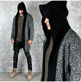 Gradation Knit Cotton Black Contrast Hood Long Cardigan 79